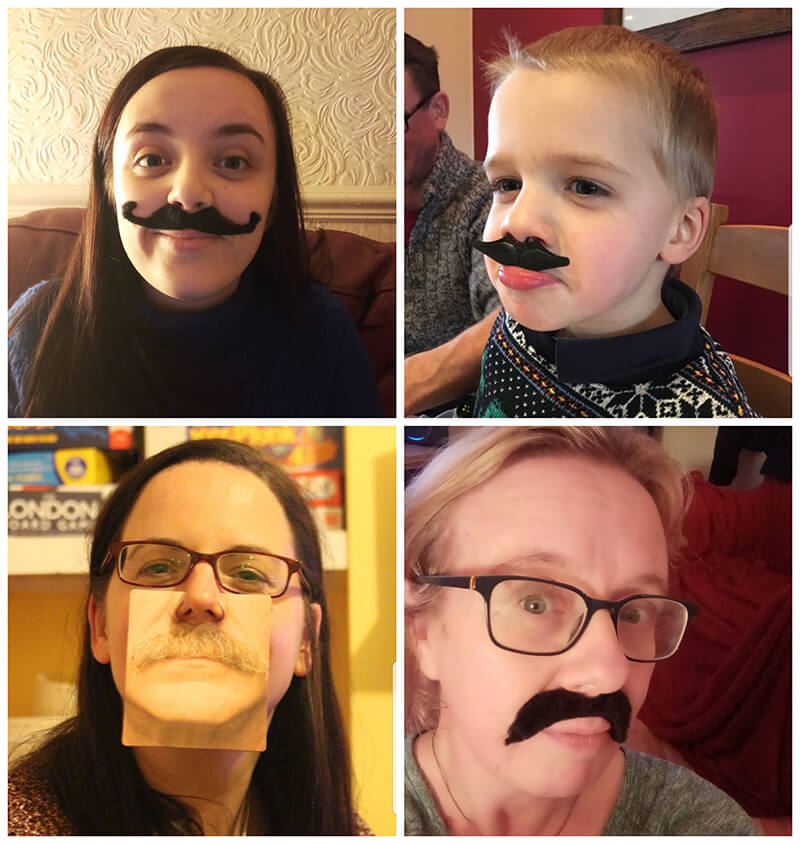 Synergy Technology family getting involved in Movember with pretend moustaches.